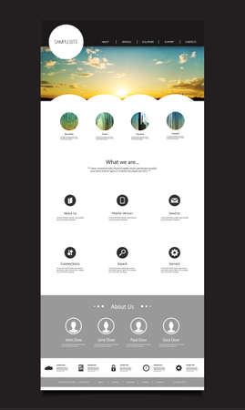 web design background: One Page Website Design Template for Your Business with Sunset Image Background Illustration