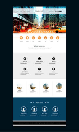 One Page Website Template with Street View Header Design Banco de Imagens - 43293268