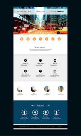 One Page Website-Vorlage mit Street View-Header Design- Standard-Bild - 43293268