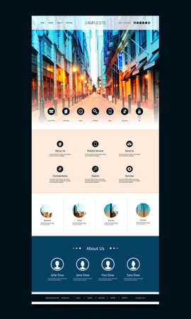 page design: One Page Website Template with Street View Header Design