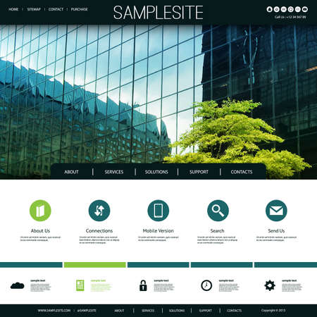 Website Design for Your Business with Traced Skyscraper Windows and Tree Image Background Vectores