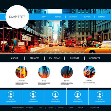 page layout: Website Design for Your Business with City Street Image Background Illustration