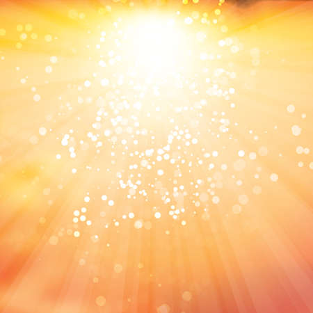 sun rays: Sun Rays with Bubbles - Vector Background Design