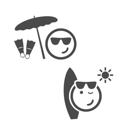 woman face: Beach Time - Emoticon Set