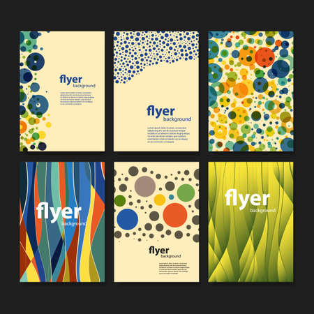 digital wave: Set of Creative Card, Flyer or Cover Designs with Dotted Abstract Colorful Pattern Backgrounds