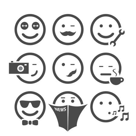 smiley face cartoon: Emoticon Set with Different Emotional Faces