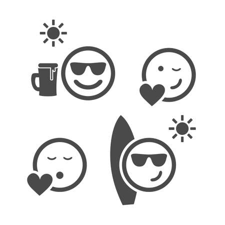 smiley face cartoon: Beach Time and Love - Emoticon Set Illustration