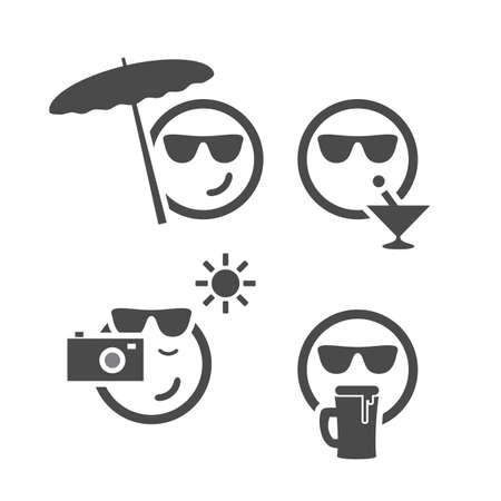 persona feliz: Playa Tiempo - Emoticon Conjunto