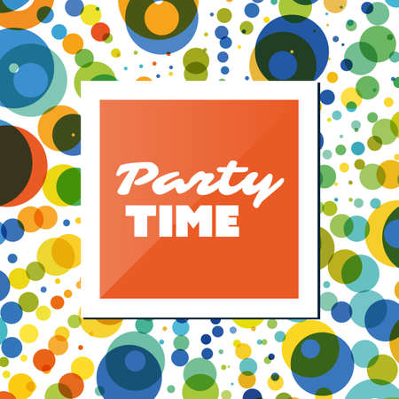 cover background time: Party Time Card, Flyer or Cover Design Template with Colorful Dots