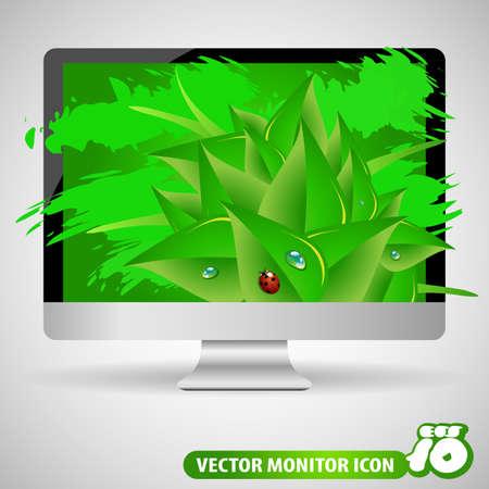 monitor screen: Eco Computer Screen - Monitor Illustration Illustration