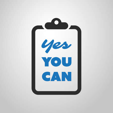 can yes you can: Yes You Can - Inspirational Quote, Slogan, Saying - Success Concept Illustration with Notepad Illustration