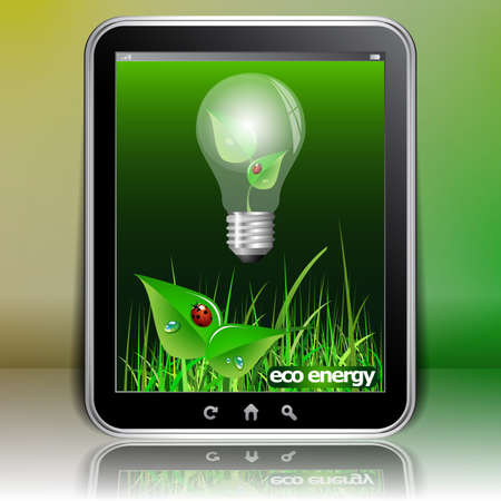 communications: Tablet PC Background - Eco Energy Illustration