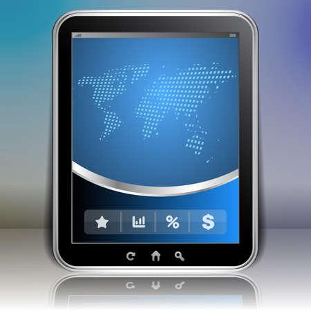 tablet: Tablet PC Background - Global Business Illustration