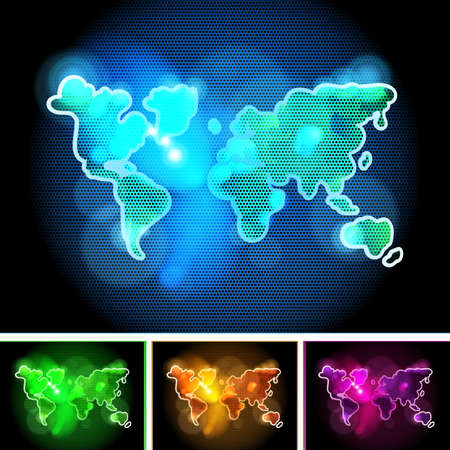 green and purple: Futuristic Shiny Hand Drawn World Map Concept in Different Colors