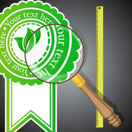 glass badge: Lookup Concept - Eco Badge With Magnifying Glass and Ruler