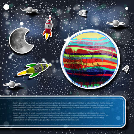 estrella caricatura: Fondo del concepto de espacio con los cohetes, los planetas y la luna y una etiqueta para su texto