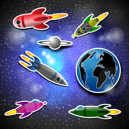 earth from space: Space Concept with Starry Sky, Rockets, Earth Globe Illustration