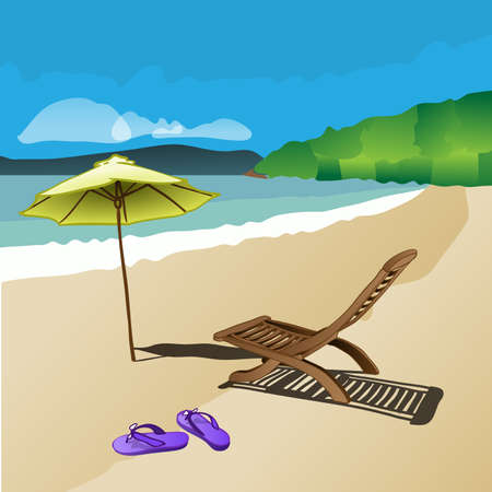 tranquil scene: Beach, Sunshine, Sand, Waves, Deckchair, Sandals and Sunshade - Abstract Colorful Summer Holiday Concept Illustration
