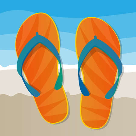 beach holiday: Flip Flops on The Beach - Holiday Concept Background