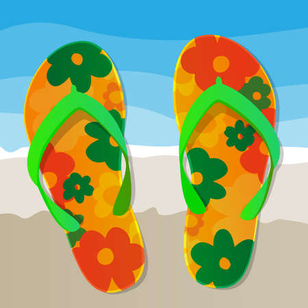 beach sea: Floral Patterned Flip Flops Background
