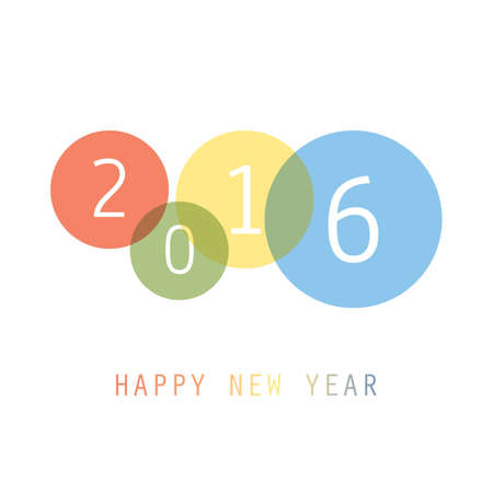 circle: Simple Colorful New Year Card, Cover or Background Design Template - 2016