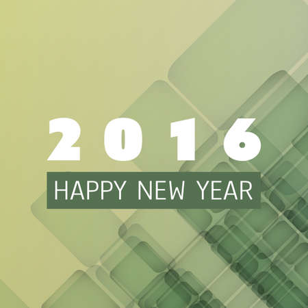 design template: Simple Colorful New Year Card, Cover or Background Design Template - 2016