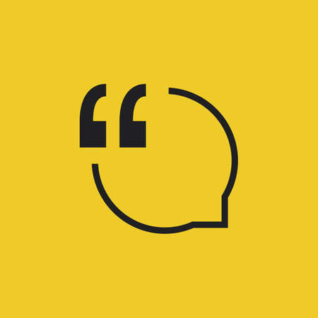 sticker vector: Quote Vector Icon on a Yellow Background