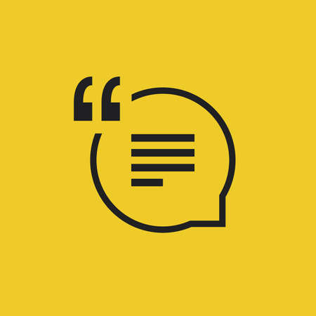 black yellow: Quote Vector Icon on a Yellow Background