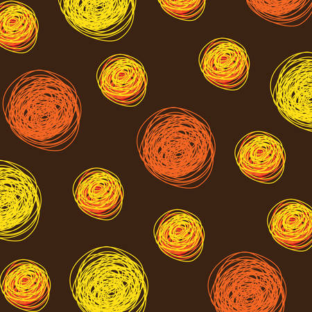 Abstract Background Vector With Round Doodles Pattern