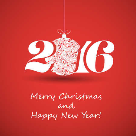 red ball: Merry Christmas and Happy New Year Greeting Card, Creative Design Template - 2016