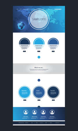 website template: One Page Website Template with Earth Globe, World Map Header Design