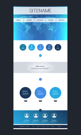 website header: One Page Website Template with World Map Header Design