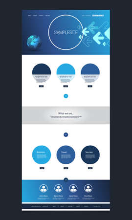 website header: One Page Website Template with Earth Globe and Arrows Header Design Illustration