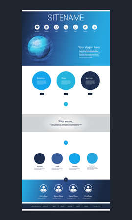 website header: One Page Website Template with Earth Globe Header Design