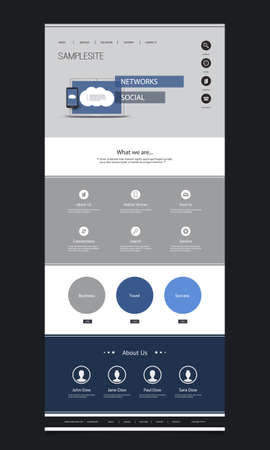 web menu: One Page Website Template with Cloud Computing and Networking Header Design Illustration