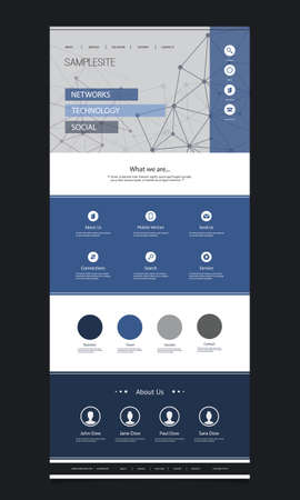 wordpress: One Page Website Template with Cloud Computing and Networking Header Design Illustration