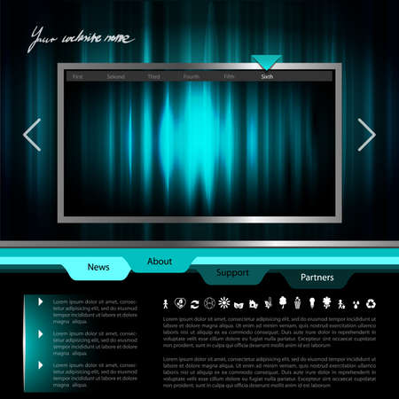 website layout: Website Template with Striped Abstract Frame, Technology Layout