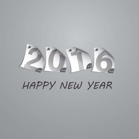 pinned: Best Wishes - Abstract Silver Grey New Year Card Template Design with Numerals Printed on Curled Pinned Note Paper - Greeting Card for Year 2016 Illustration