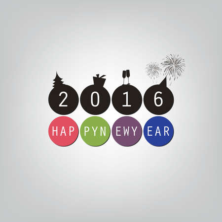 champagne: Best Wishes - Happy New Year Card or Cover Background Template - 2016