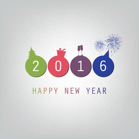 wishes: Best Wishes - Modern Simple Minimal Happy New Year Card or Cover Background Template - 2016