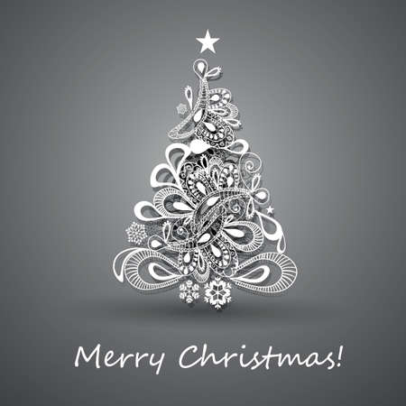 abstract tree: Christmas Tree Greeting Card, Abstract Holiday Background, Creative Design Template