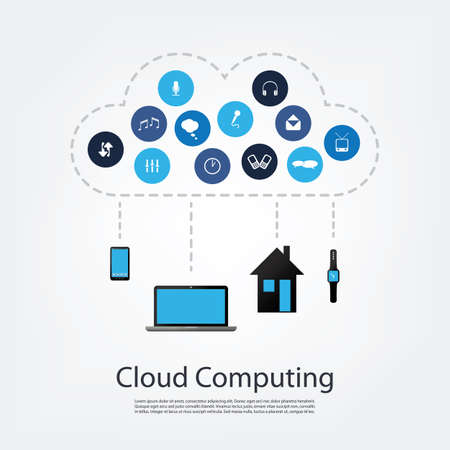 computing: Cloud Computing Concept Design Illustration