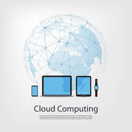 Cloud Computing Concept Design Illustration
