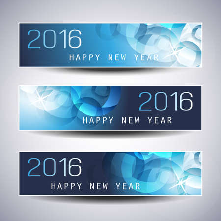 design abstract: Set of Horizontal New Year Banners - 2016