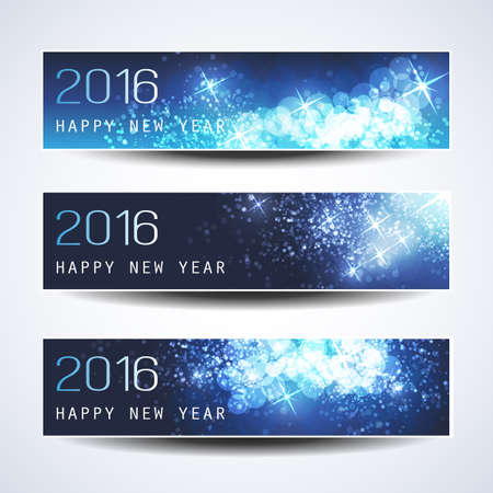 a glamour: Set of Horizontal New Year Banners - 2016