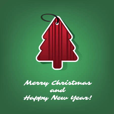 red shape: Christmas Card or Cover Template Design with Red Paper Cut Tree Shape Illustration