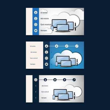 submenu: Web Design Elements - Header Designs with Cloud Computing Concept