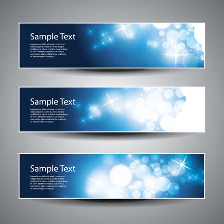 gloss banner: Set of Horizontal Christmas, New Year Banners Illustration