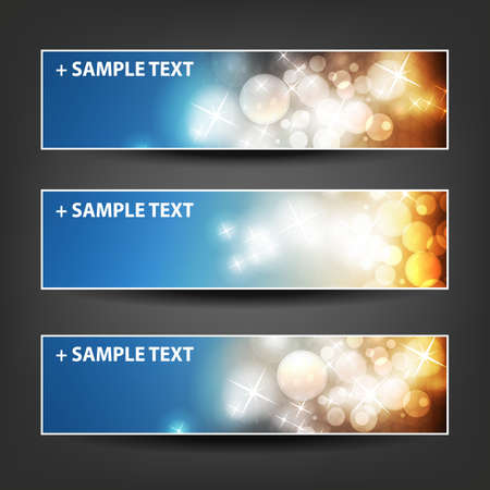 christmas banner: Horizontal Header, Banner Set for Christmas, New Year or Other Holidays, Cover or Background Designs - Colors: Brown, Blue, Orange
