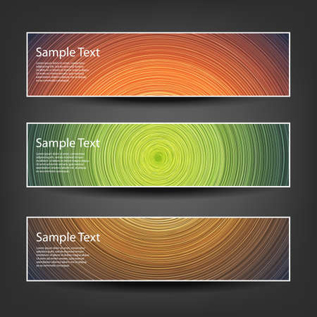 horizontal: Set of Horizontal Banner or Cover Background Designs - Brown, Green, Orange Colors